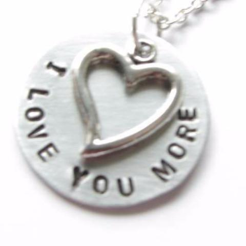 Love You Heart Necklace, Personalized Hand Stamped pendant - Jewelrylized.com