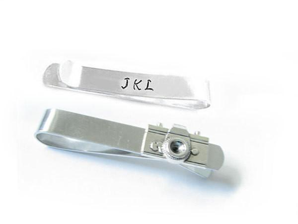 Silver Camera Initials Tie Clip - Jewelrylized