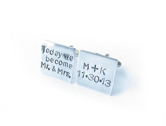Mr Mrs Cufflinks, Personalized Square Hand Stamped cuff links, gift for groom - Jewelrylized.com