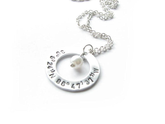 Washer Longitude Latitude Necklace, Personalized Hand Stamped Pendant Jewelry - Jewelrylized