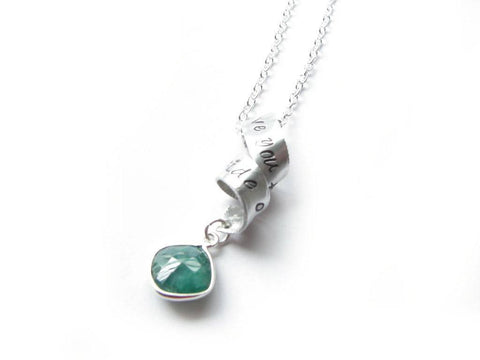 Spiral Swirl Emerald Hand Stamped Necklace, new - Jewelrylized.com