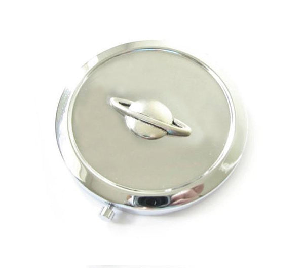 Silver Planet Saturn Mirror Compact - Jewelrylized.com