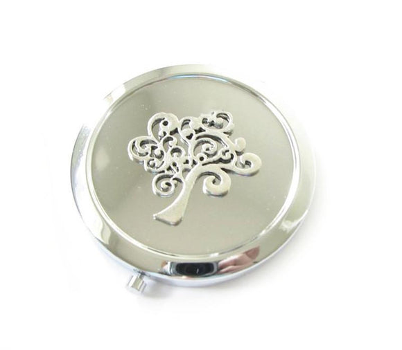 Silver Tree Magnifying Mirror Compact - Jewelrylized.com