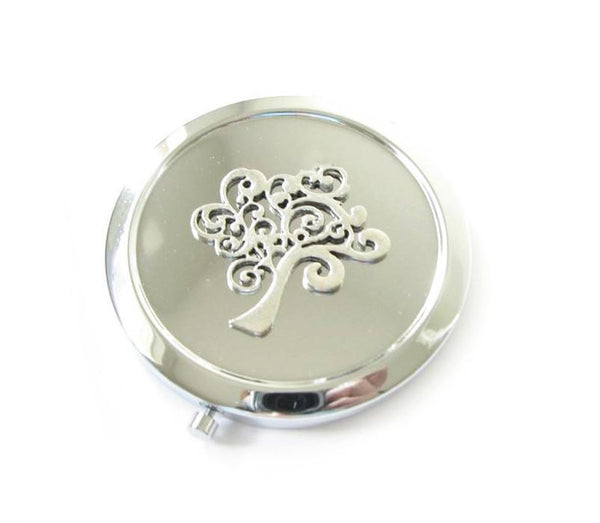 Silver Tree Magnifying Mirror Compact - Jewelrylized