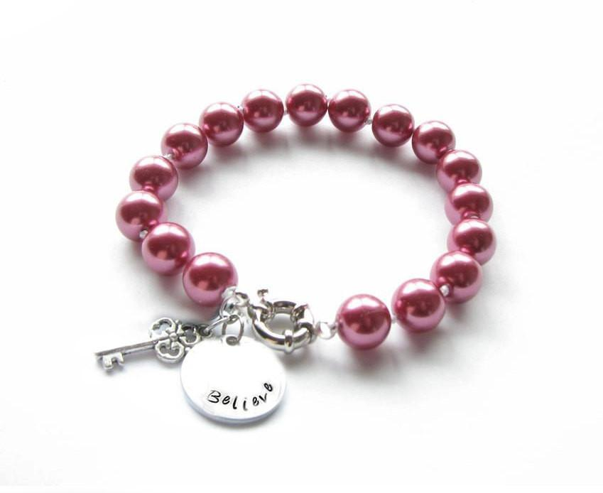 Pink Pearl Personalized Hand Stamped Key Charm Bracelet - Jewelrylized.com