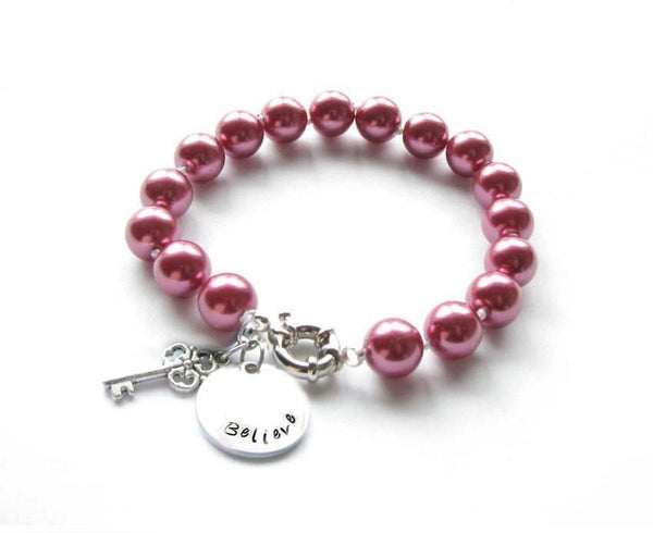 Pink Pearl Personalized Hand Stamped Key Charm Bracelet - Jewelrylized  - 1