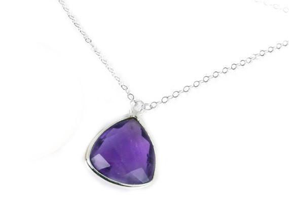 Trillion Amethyst Sterling Silver Necklace - Jewelrylized.com