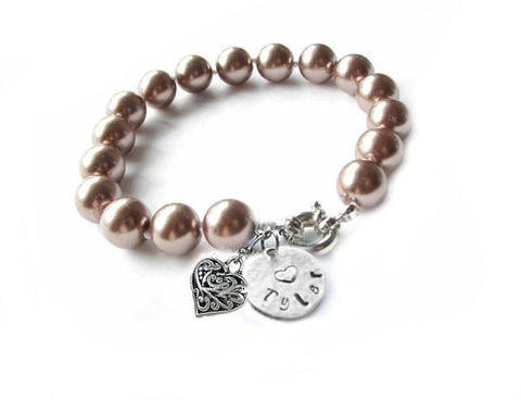 Cocoa Brown Pearl Bracelet, Personalized Hand Stamped Heart and Charm Bracelet - Jewelrylized  - 1