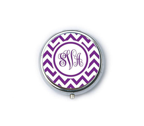 Purple Chevron Personalized Monogram Compact Mirror - Jewelrylized  - 1