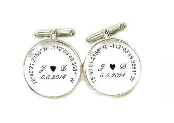 Latitude Longitude Photo Cufflinks, gift for men - Jewelrylized.com