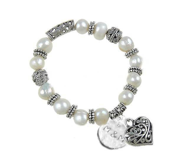 Heart Charm Pearl Bracelet, Personalized Cultured Freshwater Pearl Jewelry - Jewelrylized