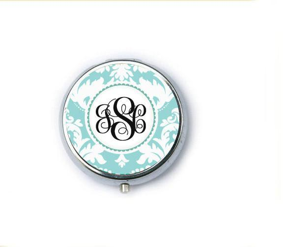 Damask Monogram Personalized Mirror Compact - Jewelrylized.com
