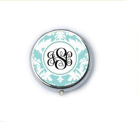 Damask Monogram Personalized Mirror Compact - Jewelrylized