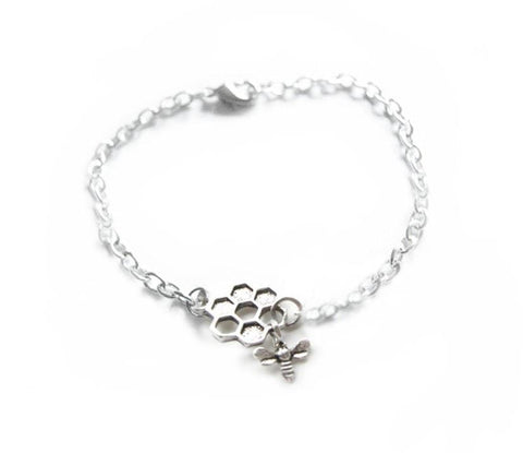 Bee Honeycomb Silver Bracelet - Jewelrylized.com