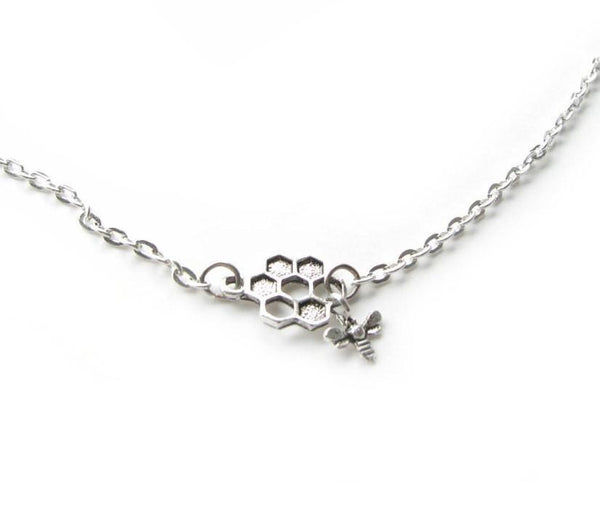 HoneyBee Honeycomb Bee Necklace silver plated chain insect animal pendant - Jewelrylized.com