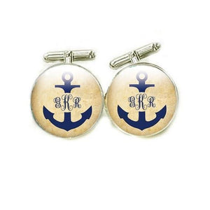 Anchor Monogram Personalized Photo Cufflinks - Jewelrylized.com