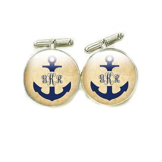 Anchor Initials Monogram Cufflinks, personalized Cuff Links, gift for men father Customize Photo cuff links Wedding Birthday boat lovers - Jewelrylized