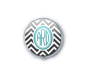 Silver Personalized Monogram Two Way Magnifying Mirror Compact - Jewelrylized.com