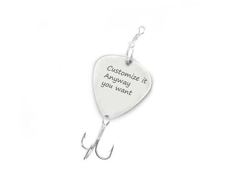 Guitar Pick Hand Stamped Fishing Lure Hook - Jewelrylized.com