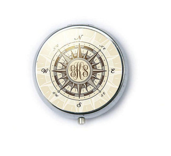 Silver Personalize Compass Monogram Mirror, Purse Mirror, Makeup Mirror - Jewelrylized.com