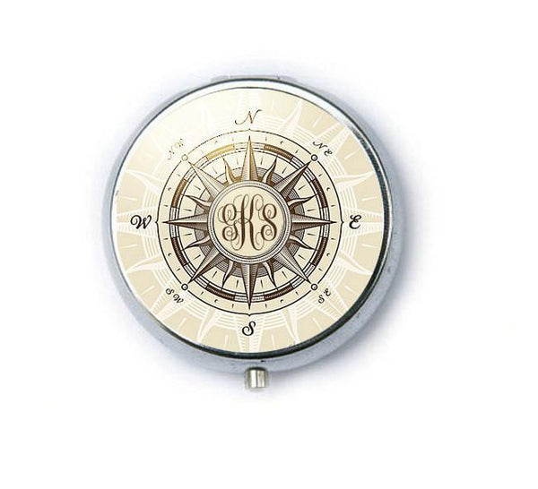 Silver Personalize Compass Monogram Mirror, Purse Mirror, Makeup Mirror - Jewelrylized  - 1
