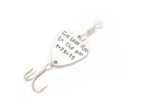 Two Less Fish Fishing Lure Hook, Guitar Pick Fishing Lure, Personalized Hand Stamped Fishing Lure - Jewelrylized  - 1