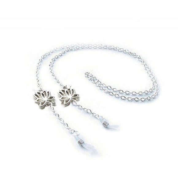 Silver Lotus Flower Eyeglass Silver Chain Holder, Eyeglass lanyard reading glasses Chain - Jewelrylized.com
