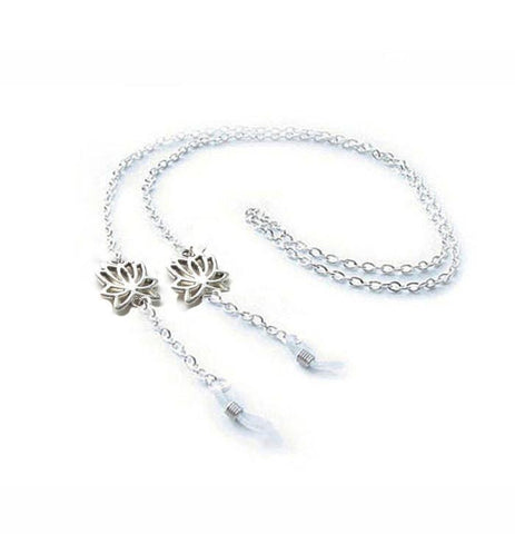 Silver Lotus Flower Eyeglass Silver Chain Holder Eyeglass lanyard reading glasses chain - eyeglasses cord - Jewelrylized  - 1
