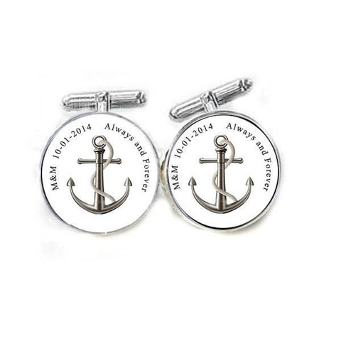 Anchor Initials Cufflinks, Photo Cuff links keepsake silver gift for men father or your own picture, wedding cufflnks, birthday - Jewelrylized