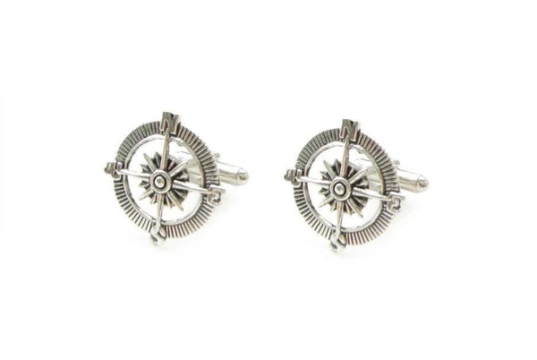 Antiqued Silver Compass Cufflinks - Jewelrylized