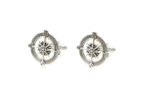 Antiqued Silver Compass Cufflinks - Jewelrylized.com