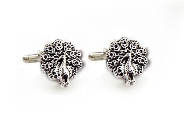 Antiqued Silver Peacock Cufflinks - Jewelrylized  - 1
