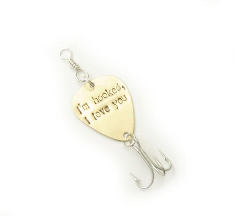 I am hook Fishing Lure Hook, Guitar Pick, Personalized Hand Stamped Fish Lure, gift for men - Jewelrylized.com