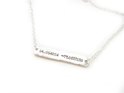 Sideway Latitude Longitude Hand Stamped Necklace, Personalized Hammered GPS Coordinates gift, Jewelrylized