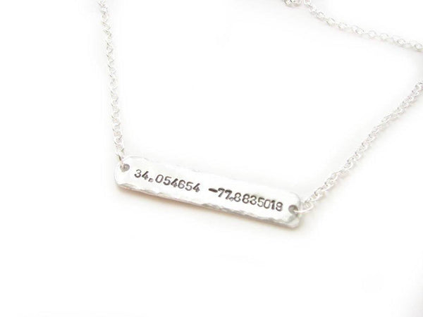 Sideway Latitude Longitude Necklace, Hand Stamped Necklace, Personalized Hammered GPS Coordinates gift sterling silver copper brass - Jewelrylized  - 1