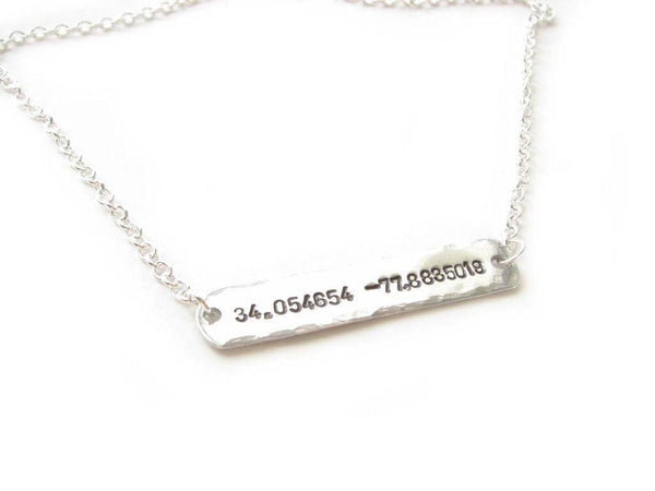 Sideway Latitude Longitude Hand Stamped Necklace, Personalized Hammered GPS Coordinates gift - Jewelrylized.com