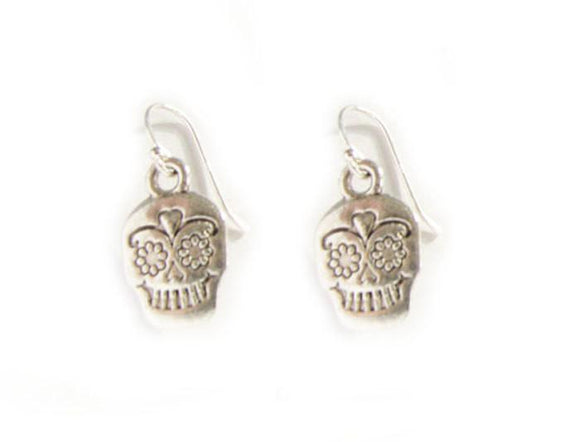 Sugar Skull silver Earrings, skull Jewelry Gift, gothic pirate, day of dead Mexican Holiday - Jewelrylized.com