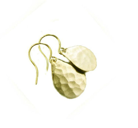 Teardrop Hammered Brass Earrings, 14K Gold Filled Dangle Jewelry Gift for her - Jewelrylized.com