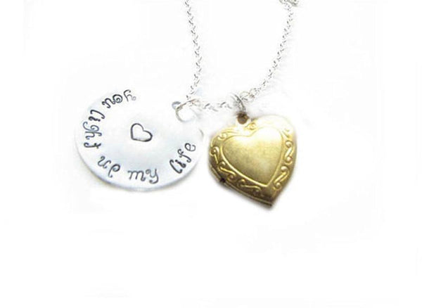 Heart Locket Hand Stamped Personalized Charm Necklace - Jewelrylized