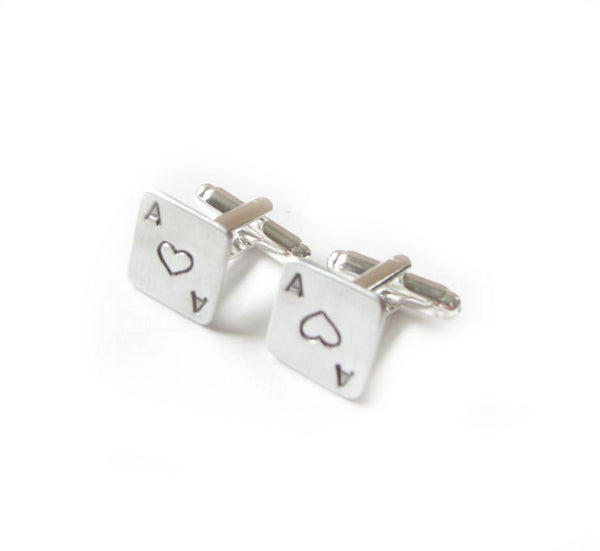 Square Ace Heart initial cufflinks, New - Jewelrylized
