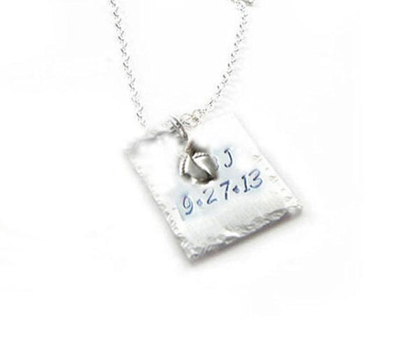 Square Baby Feet Charm Necklace, Customize family necklace, Hammered Hand Stamped Pendant - Jewelrylized.com