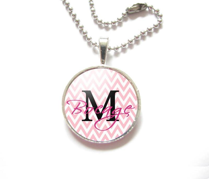 Pink Chevron Name Necklace - Jewelrylized.com