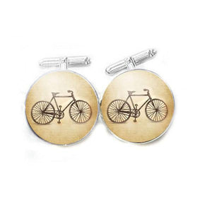 Vintage Bicycle Cufflinks, Photo Cuff links Gift for Men Cycle Hipster - Jewelrylized