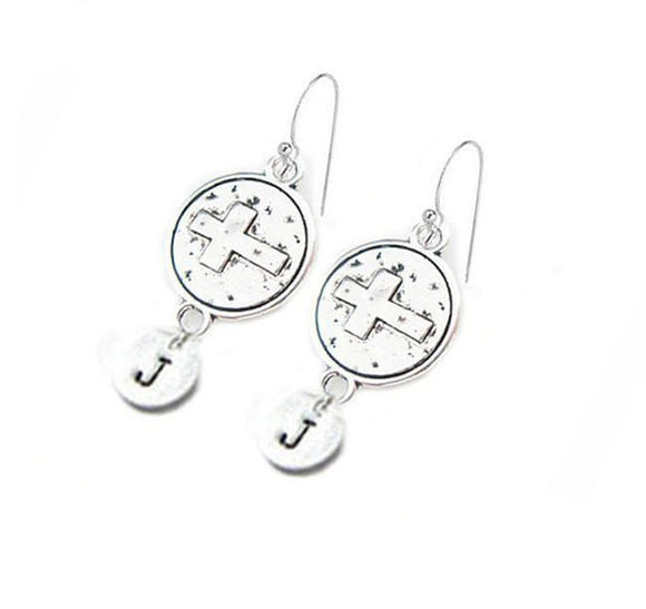 Initial Cross Hand Stamped Earrings - Jewelrylized.com