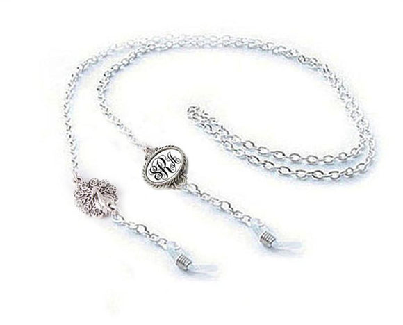 Peacock Personalized Eyeglass Chain Holder, Monogram Initials Eyeglass lanyard - Jewelrylized.com