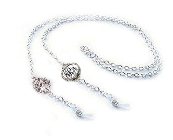 Peacock Personalized Eyeglass Chain Holder, Monogram Initials Eyeglass lanyard - Jewelrylized  - 1
