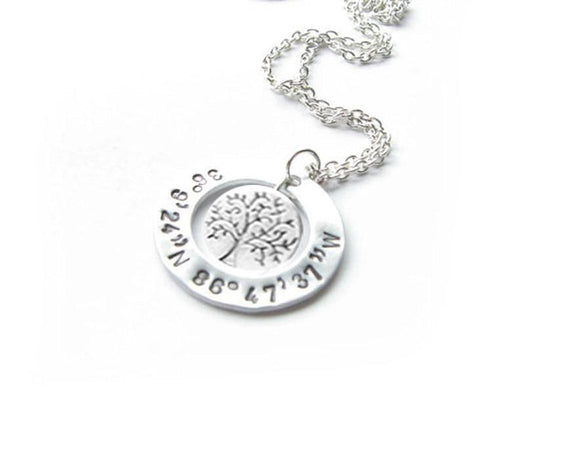 Tree Longitude Latitude Necklace, Washer Hand Stamped Pendant, Personalized gift for her - Jewelrylized.com