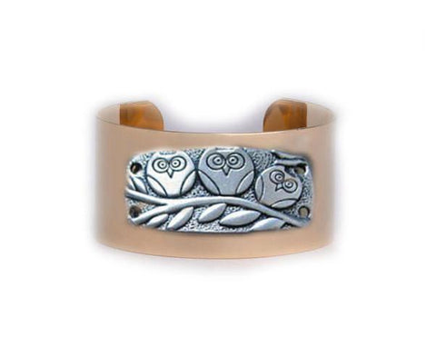 Three Owl Cuff Bracelet Golf Plated Cuff Bird on Branch Jewelry, Jewelrylized