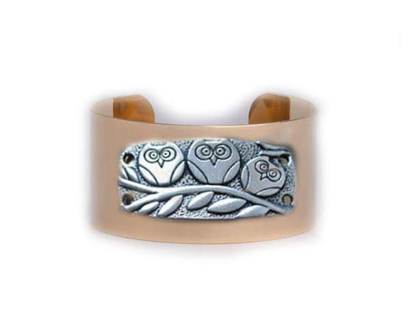 Three Owl Cuff Bracelet Golf Plated Cuff Bird on Branch Jewelry - Jewelrylized.com