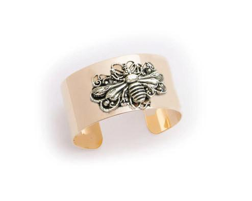Two Tone Bee Gold Plated Cuff Bracelet - Jewelrylized  - 1